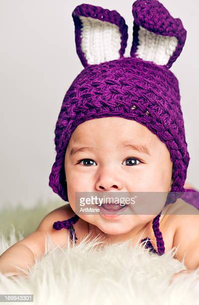 bunny babe - purple hat stock pictures, royalty-free photos & images