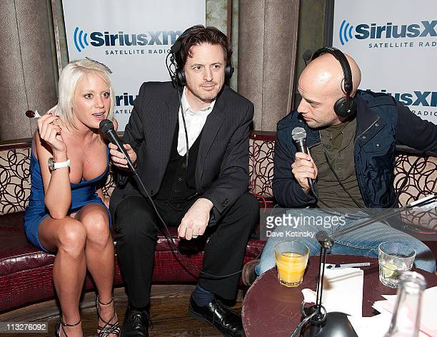 Bunny Ranch Cami Parker Comedian John Fugelsang and Comedian Pete Dominick attend the book launch party for The Gods of Greenwich at Kiss Fly on...