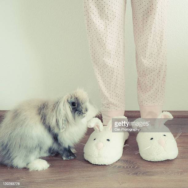Bunny with bunny slippers