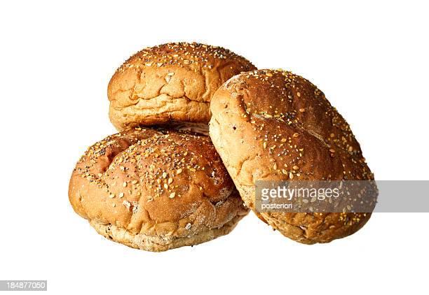 buns on white background