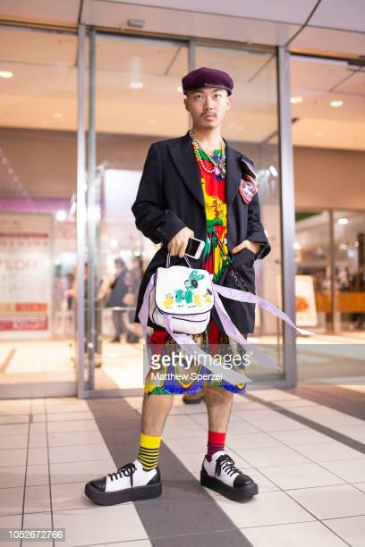 Bunta Shimizu is seen wearing multicolor outfit burgundy beret black blazer with large buttons Jennyfax bag and black/white creepers during the...