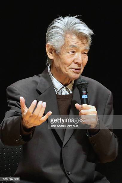 Bunta Sugawara talks about his experience of battling cancer at a lecture on September 5 2014 in Fukuoka Japan Bunta Sugawara a Japanese actor best...