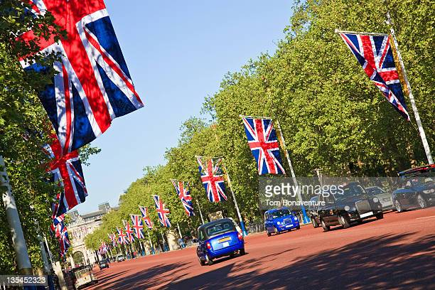 Bunting and taxis on The Mall