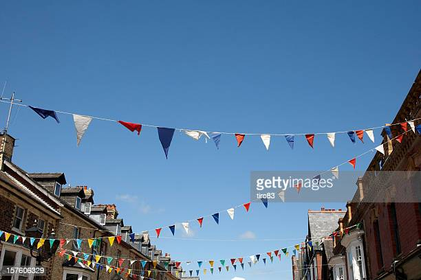 Bunting flags against blue sky