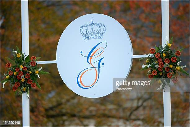Bunting on the street during the civil wedding ceremony of Prince Guillaume Of Luxembourg and Countess Stephanie de Lannoy at the Hotel De Ville on...