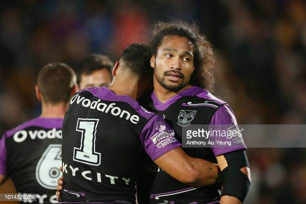 Bunty Afoa and Roger TuivasaSheck of the Warriors share a hug after winning the round 22 NRL match between the New Zealand Warriors and the Newcastle...