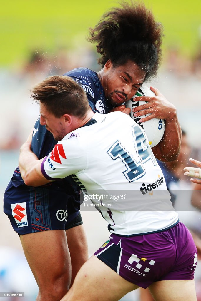 Bunty Afoa of the Warriors charges forward during the NRL trial match between the New Zealand Warriors and the Melbourne Storm at Rotorua International Stadium on February 17, 2018 in Rotorua, New Zealand.