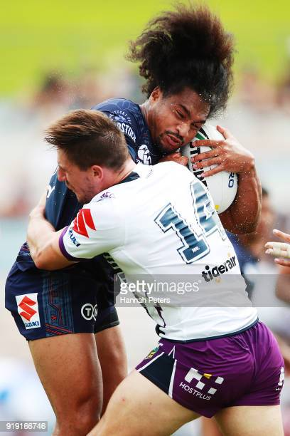 Bunty Afoa of the Warriors charges forward during the NRL trial match between the New Zealand Warriors and the Melbourne Storm at Rotorua...