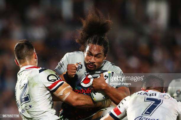 Bunty Afoa of the Warriors charges forward during the round 10 NRL match between the New Zealand Warriors and the Sydney Roosters at Mt Smart Stadium...
