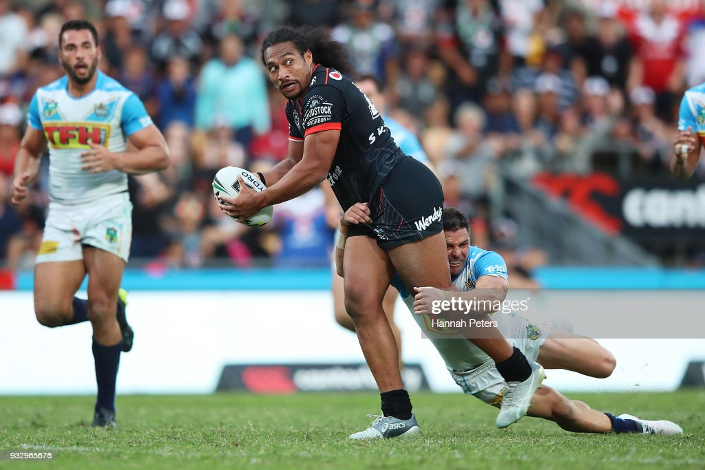 Bunty Afoa of the Warriors charges forward during the round two NRL match between the New Zealand Warriors and the Gold Coast Titans at Mt Smart Stadium on March 17, 2018 in Auckland, New Zealand.