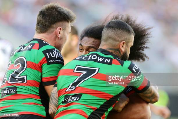 Bunty Afoa of the Warriors is tackled during the round one NRL match between the South Sydney Rabbitohs and the New Zealand Warriors at Perth Stadium...