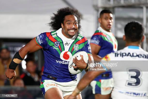 Bunty Afoa of the Warriors takes the ball up during the round 4 NRL match between the Warriors and the Titans at Mt Smart Stadium on April 05 2019 in...