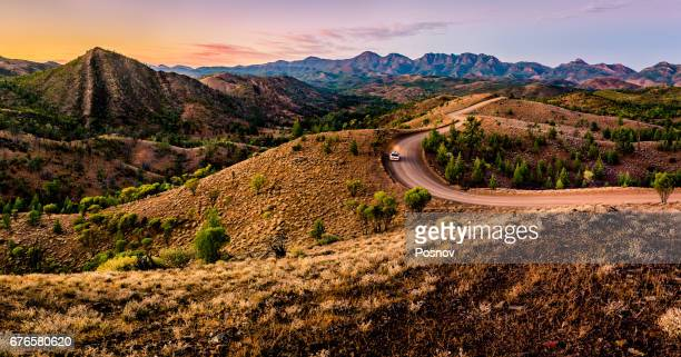 bunyeroo valley in flinders ranges, south ausralia. - south australia stock pictures, royalty-free photos & images