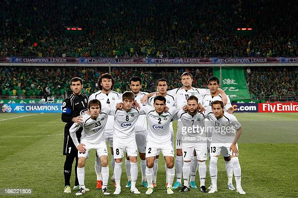 Bunyodkor players line up prior to the AFC Champions League match between Bunyodkor and Beijing Guoan at Beijing Workers' Stadium on April 10 2013 in...