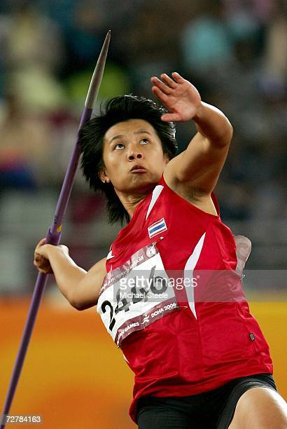 Buoban Pamang of Thailand competes in the Women's Javelin Throw Final during the 15th Asian Games Doha 2006 at the Khalifa Stadium December 9 2006 in...