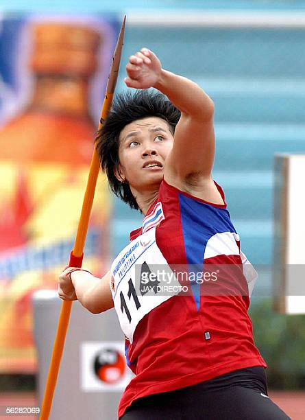 Buoban Pamang of Thailand releases the javelin during the Women's Javelin finals at the 23rd Sout East Asian Games in Manila 28 November 2005. Pamang...