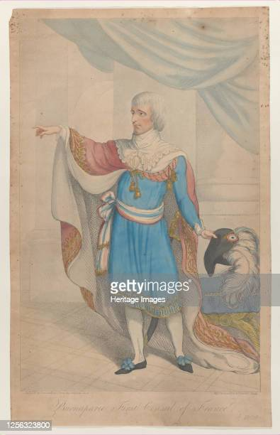 Buonaparte First Consul of France, 1800-04. Full-length, in the costume of the Directoire, holding his hat, with a large ostrich-feather, in his left...