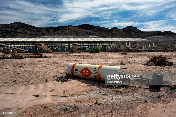 A buoy sits on what used to be the bottom of Lake Mead at the abandoned Echo Bay Marina in Overton Nevada US on Thursday June 4 2015 The Southern...