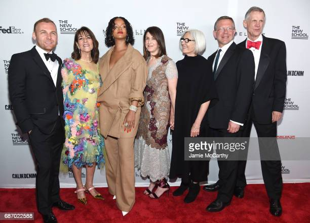 Burak Cakmak, Kay Unger, Rihanna, Karen Katz, Eileen Fisher, Joel Towers and David Van Zandt attend the 69th Annual Parsons Benefit at Pier 60 on May...