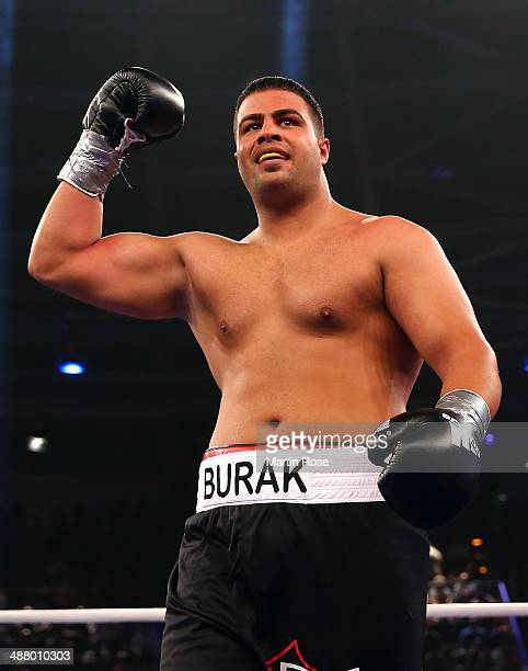 Burak Sahin of Germany celebrates after winning against Zoltan Jerousek of Hungary after their heavyweight fight at Velodrom on May 3 2014 in Berlin...