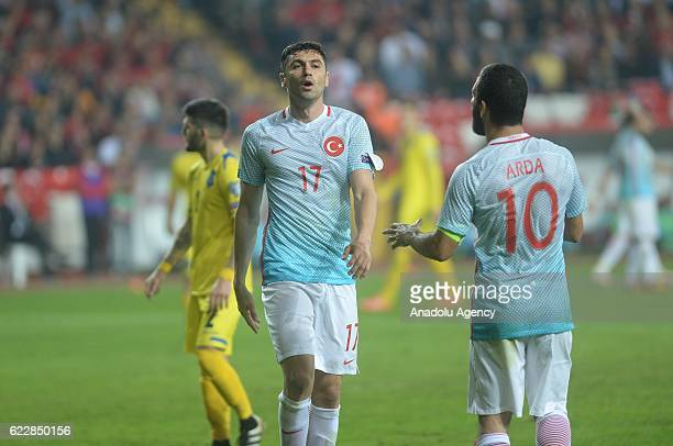 Burak Yilmaz and Arda Turan of Turkey in action during the 2018 FIFA World Cup European Qualifying Group I football match between Turkey and Kosovo...