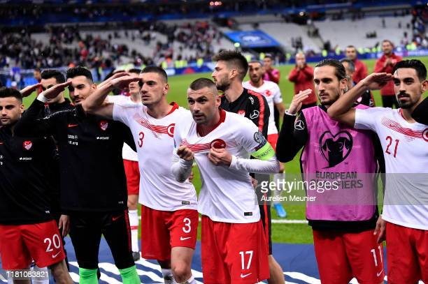 Burak Yilmaz and Merih Demiral of Turkey celebrates with their fans after the UEFA Euro 2020 qualifier between France and Turkey on October 14 2019...