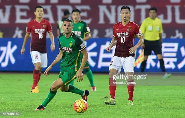 Burak Yilmaz of Beijing Guo in action during the China football association cup match between Guangzhou Evergrande and Beijing Guo at Tianhe Sports...