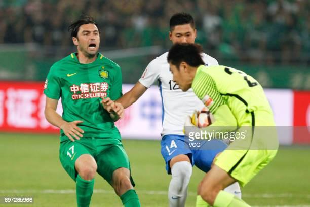 Burak Yilmaz of Beijing Guoan reacts during the 13th round match of 2017 Chinese Football Association Super League between Beijing Guoan and Tianjin...