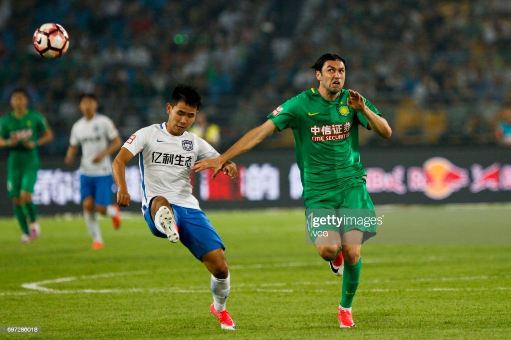 Burak Yilmaz # 17 of Beijing Guoan reacts during the 13th round match of 2017 Chinese Football Association Super League (CSL) between Beijing Guoan and Tianjin Teda at Beijing Workers' Stadium on June 18, 2017 in Beijing, China.