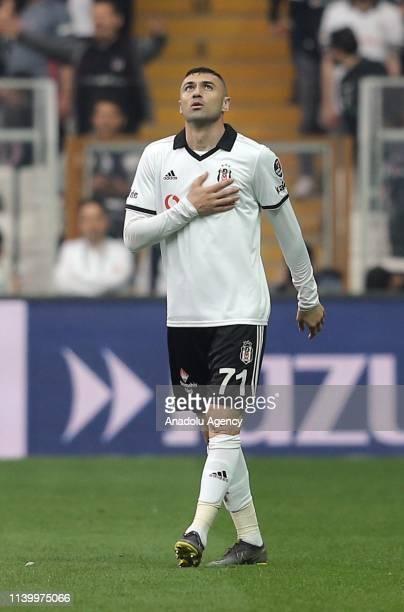 Burak Yilmaz of Besiktas celebrates after scoring a goal during Turkish Super Lig soccer match between Besiktas and MKE Ankaragucu at Vodafone Park...