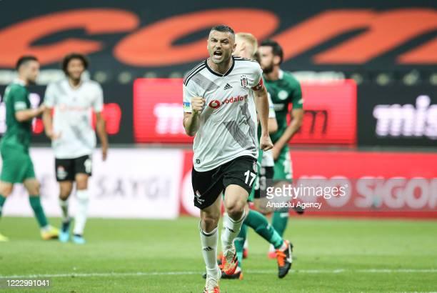 Burak Yilmaz of Besiktas celebrates his goal during Turkish Super Lig week 29 soccer match between Besiktas and Ittifak Holding Konyaspor at Vodafone...