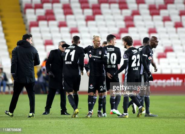 Burak Yilmaz of Besiktas celebrates with his teammates after scoring a goal during Turkish Super Lig soccer match between Demir Grup Sivasspor and...