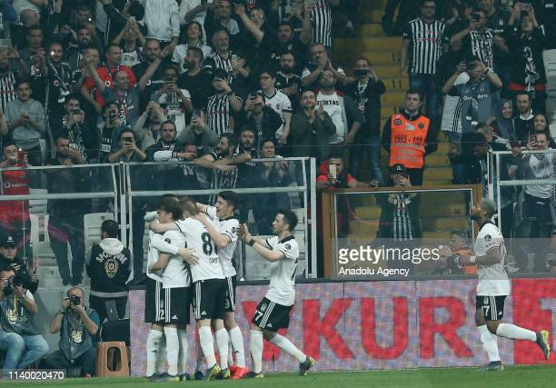 Burak Yilmaz of Besiktas celebrates with his teammates after scoring a goal during Turkish Super Lig soccer match between Besiktas and MKE Ankaragucu...