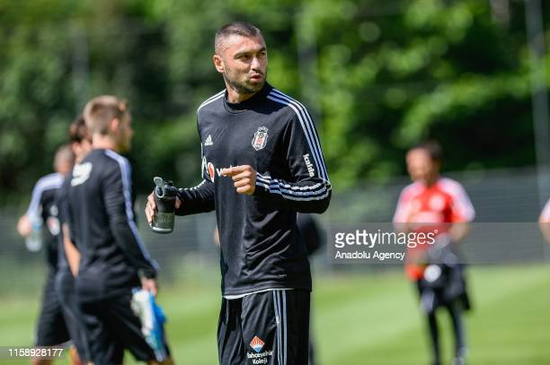 Burak Yilmaz of Besiktas gestures during a training session within summer camp as part of the Turkish Super Lig new season preparations in...
