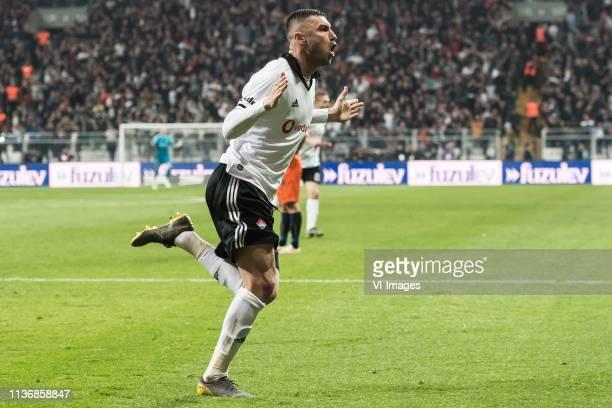 Burak Yilmaz of Besiktas JK celebrate his goal during the Turkish Spor Toto Super Lig football match between Besiktas JK and Medipol Basaksehir FK on...