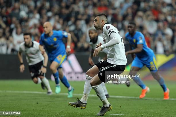 Burak Yilmaz of Besiktas takes the penalty shot during Turkish Super Lig soccer match between Besiktas and MKE Ankaragucu at Vodafone Park in...
