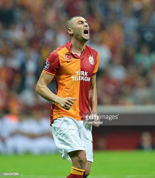 Burak Yilmaz of Galatasaray AS in action during the UEFA Champions League group stage match between Galatasaray AS and SC Braga on October 2 2012 at...
