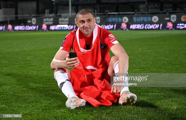 Burak Yilmaz of Lille celebrates after winning the French Ligue soccer match between Angers SCO and Lille at Stade Raymond Kopa in Angers, France on...