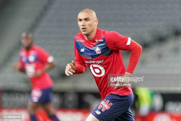 Burak Yilmaz of Lille OSC during the Ligue 1 match between Lille OSC and AS Saint-Etienne at Stade Pierre Mauroy on May 16, 2021 in Lille, France.