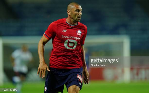 Burak Yilmaz of LOSC Lille in action during the Pre-Season Friendly match between SL Benfica and Lille at Estadio Algarve on July 22, 2021 in Loule,...