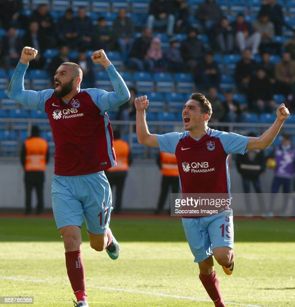 Burak Yilmaz of Trabzonspor celebrates 10 with Abdulkadir Omur of Trabzonspor during the Turkish Super lig match between Kasimpasaspor v Trabzonspor...