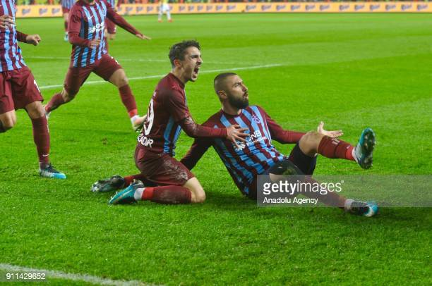 Burak Yilmaz of Trabzonspor celebrates after scoring a goal during a Turkish Super Lig match between Trabzonspor and Fenerbahce at Medical Park...