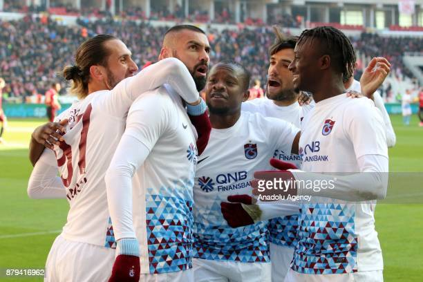 Burak Yilmaz of Trabzonspor celebrates his goal with his team mates during the Turkish Super Lig match between Demir Grup Sivasspor and Trabzonspor...