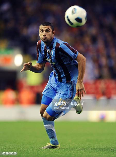 Burak Yilmaz of Trabzonspor during the UEFA Europa League Playoff 1st Leg match between Liverpool and Trabzonsor at Anfield Stadium in Liverpool UK