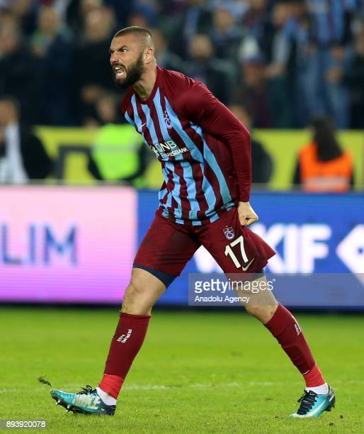 Burak Yilmaz of Trabzonspor gestures during a Turkish Super Lig match between Trabzonspor and Bursaspor at Medical Park Stadium in Trabzon Turkey on...