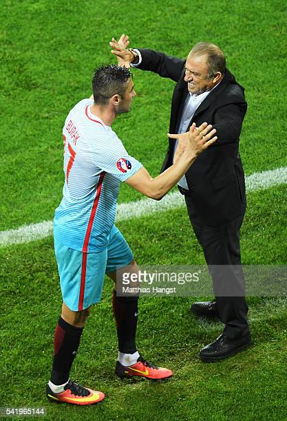 Burak Yilmaz of Turkey and Fatih Terim head coach of Turkey celebrate after during the UEFA EURO 2016 Group D match between Czech Republic and Turkey...
