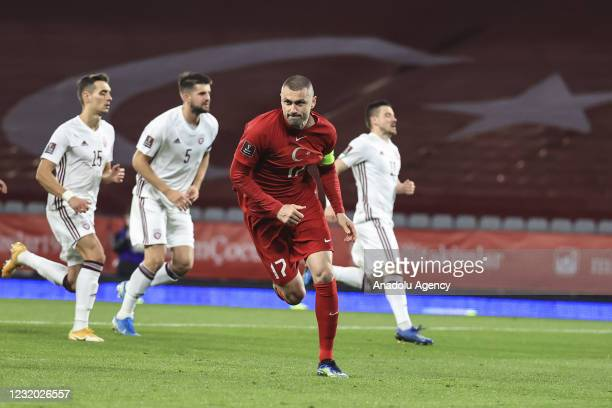 Burak Yilmaz of Turkey celebrates after scoring a goal during the 2022 FIFA World Cup Europe Qualification Group G match between Turkey and Latvia,...