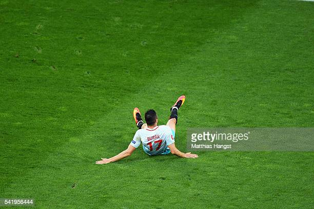 Burak Yilmaz of Turkey celebrates scoring his team's first goal during the UEFA EURO 2016 Group D match between Czech Republic and Turkey at Stade...