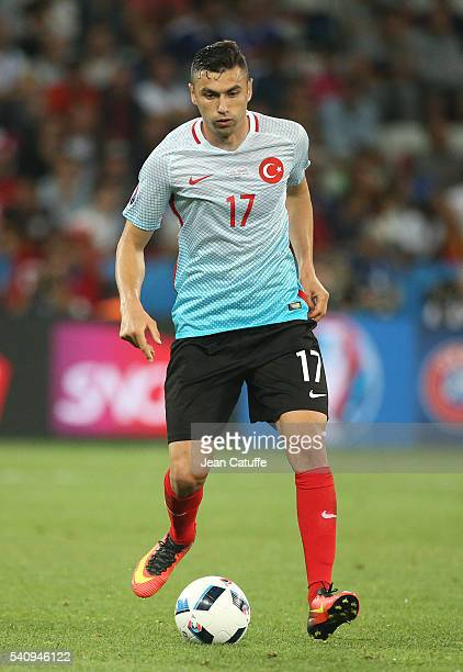Burak Yilmaz of Turkey in action during the UEFA EURO 2016 Group D match between Spain and Turkey at Allianz Riviera Stadium on June 17 2016 in Nice...
