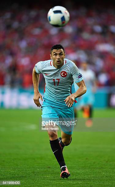 Burak Yilmaz of Turkey in action during the UEFA EURO 2016 Group D match between Czech Republic and Turkey at Stade BollaertDelelis on June 21 2016...
